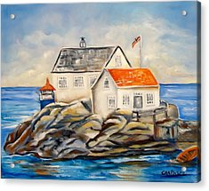 Vikeholmen Lighthouse II Acrylic Print by Carol Allen Anfinsen