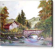 Acrylic Print featuring the painting Village Bridge by Dorothy Maier