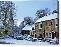 Village Church And Pub Acrylic Print by David Birchall
