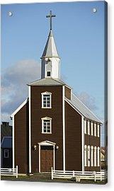 Village Church Of Eyrarbakki Acrylic Print by Michael Thornton