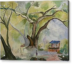 Acrylic Print featuring the painting Village In India by Geeta Biswas
