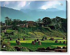 Village In Nepal Acrylic Print by Wernher Krutein