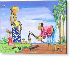 Acrylic Print featuring the painting Village Life In Cameroon 01 by Emmanuel Baliyanga