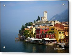 Village Near The Water With Alps In The Background  Acrylic Print