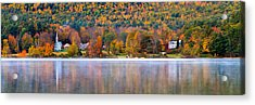 Village On Crystal Lake Autumn  Acrylic Print