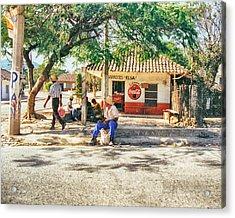 Village Street Scene Acrylic Print