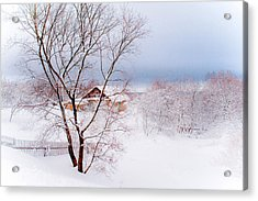 Village Under The Snow. Russia Acrylic Print by Jenny Rainbow