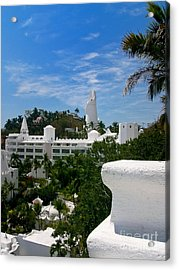Villas On A Hillside In Manzanillo Mexico Acrylic Print by Amy Cicconi