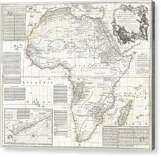 Vinatge Old World Map Of Africa Acrylic Print by Inspired Nature Photography Fine Art Photography