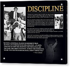 Vince Lombardi Discipline Acrylic Print by Retro Images Archive