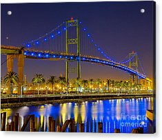 Acrylic Print featuring the photograph Vincent Thomas Bridge - Nightside by Jim Carrell