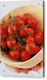 Vine Cherry Tomatoes Acrylic Print by William Lingwood/science Photo Library