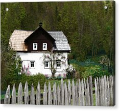 Vine Covered Cottage With Rustic Wooden Picket Fence Acrylic Print