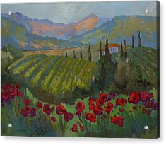 Vineyard And Red Poppies Acrylic Print by Diane McClary