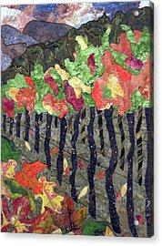 Vineyard In Autumn Acrylic Print by Lynda K Boardman