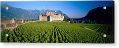 Vineyard In Front Of A Castle, Aigle Acrylic Print by Panoramic Images