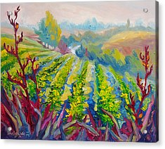 Vineyard Scene Oil Painting Acrylic Print