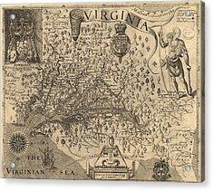 Vintage 1606 Virginia Map Acrylic Print by Dan Sproul