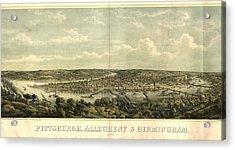 Vintage 1874 Pittsburgh Aerial Map Acrylic Print