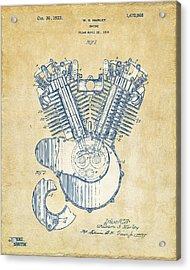 Vintage 1923 Harley Engine Patent Artwork Acrylic Print by Nikki Marie Smith