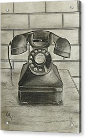 Acrylic Print featuring the drawing Vintage 1940's Telephone by Kelly Mills
