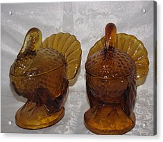 Vintage Amber Glass Turkey Acrylic Print by HollyWood Creation By linda zanini