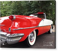 Vintage American Car - Red And White 1955 Oldsmobile Convertible Classic Car Acrylic Print by Kathy Fornal