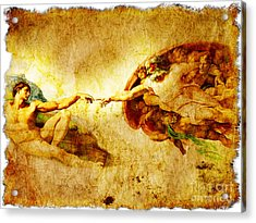 Vintage Art - The Creation Of Adam Acrylic Print by Stefano Senise