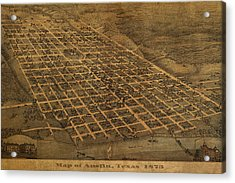 Vintage Austin Texas In 1873 City Map On Worn Canvas Acrylic Print
