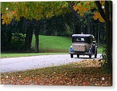 Vintage Auto On The Road Again Acrylic Print by Kay Novy