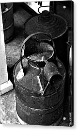 Acrylic Print featuring the photograph Vintage B/w Galvanized Container by Lesa Fine