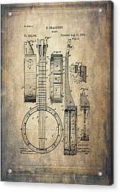 Vintage Banjo Patent Drawing Acrylic Print by Maria Angelica Maira