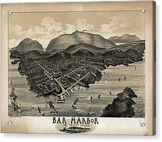 Acrylic Print featuring the photograph Vintage Bar Harbor Map by Pd