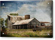 Barn -vintage Barn With Brick Silo - Luther Fine Art Acrylic Print by Luther Fine Art