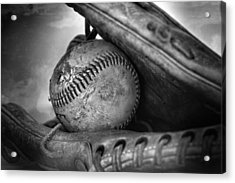 Vintage Baseball And Glove Acrylic Print by Dan Sproul