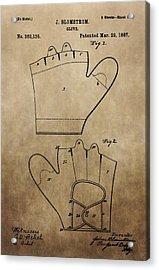 Vintage Baseball Glove Patent Acrylic Print