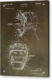 Vintage Baseball Mask Patent Acrylic Print by Dan Sproul