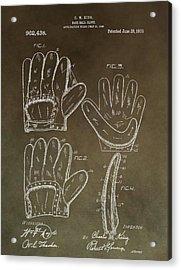 Vintage Baseball Mitt Patent Acrylic Print