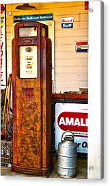Acrylic Print featuring the photograph Vintage Bassett Gas Pump   by Lesa Fine