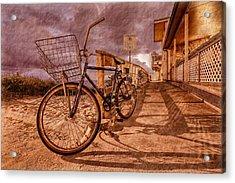 Vintage Beach Bike Acrylic Print by Debra and Dave Vanderlaan