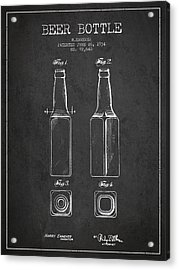 Vintage Beer Bottle Patent Drawing From 1934 - Dark Acrylic Print