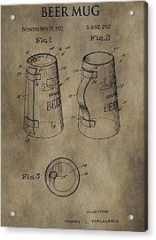 Vintage Beer Mug Patent Acrylic Print