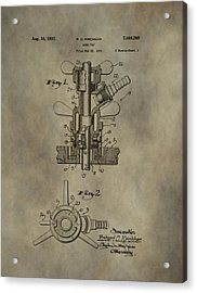Vintage Beer Tap Patent Acrylic Print by Dan Sproul