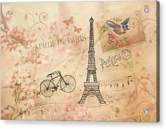 Vintage Bicycle And Eiffel Tower Acrylic Print by Peggy Collins