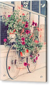 Vintage Bicycle Flowers Photograph Acrylic Print by Elle Moss