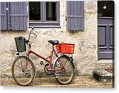 Vintage Bike Outside A Shuttered Window Acrylic Print