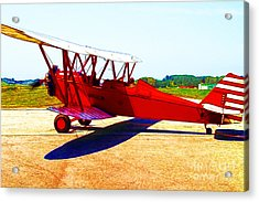 Vintage Biplane - 7d15525 - Color Sketch Style Acrylic Print by Wingsdomain Art and Photography