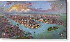 Vintage Bird's Eye View Of New York City - Circa 1885 Acrylic Print by Blue Monocle