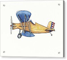 Vintage Blue And Yellow Airplane Acrylic Print