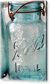 Vintage Blue Aqua Ball Jars - Mason Jars Ball Jars Photography - Shabby Chic Ball Jar With Hearts Acrylic Print by Kathy Fornal